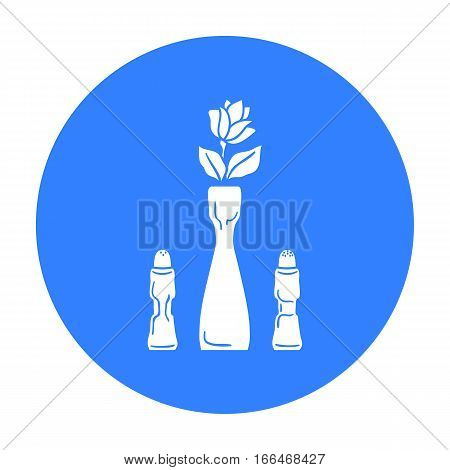 Vase with flower icon in  blue  style isolated on white background. Restaurant symbol vector illustration. - stock vector