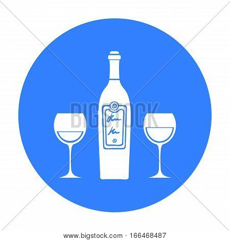 Bottle of red wine with glasses icon in  blue style isolated on white background. Restaurant symbol vector illustration. - stock vector