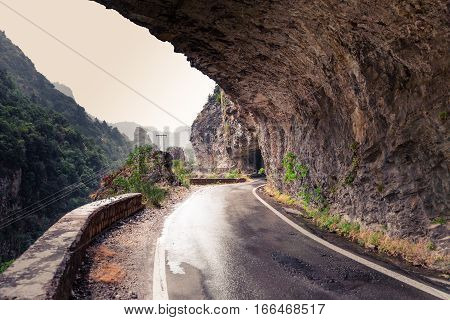 Mountain road in the rocks near Kalamata, Greece
