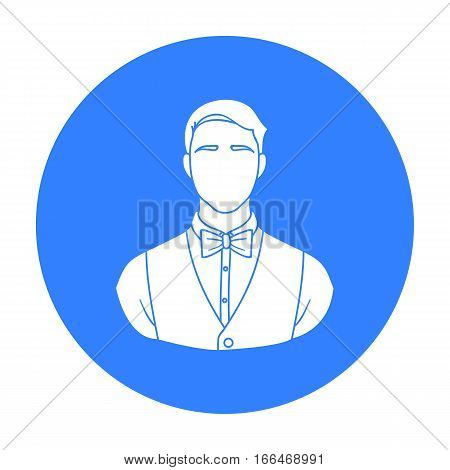 Restaurant waiter with a bow tie icon in  blue  style isolated on white background. Restaurant symbol vector illustration. - stock vector