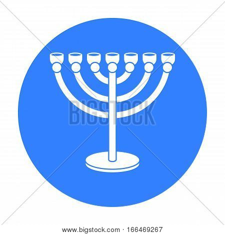 Menorah icon in blue style isolated on white background. Religion symbol vector illustration. - stock vector