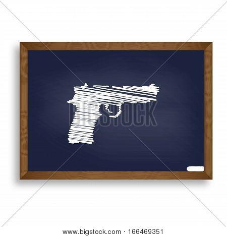 Gun Sign Illustration. White Chalk Icon On Blue School Board Wit