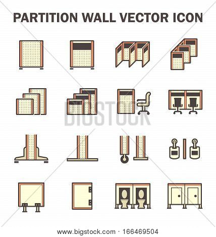 Vector icon of partition wall or divide space equipment isolated on white background.