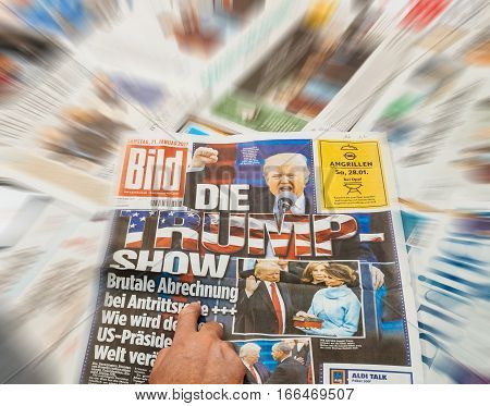 PARIS FRANCE - JAN 21 2017: Die Bild German major international newspaper journalism featuring headlines with Donald Trump Show inauguration as the 45th President of the United States in Washington D.C