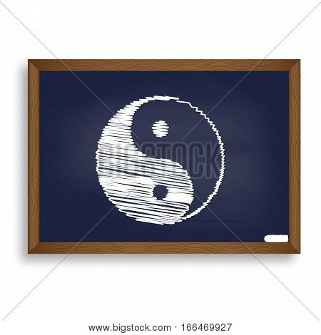 Ying Yang Symbol Of Harmony And Balance. White Chalk Icon On Blu