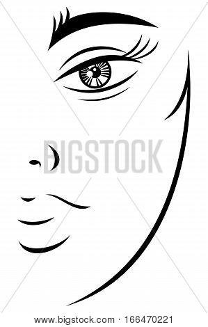 Silhouette Drawing Feminine Teenager Face
