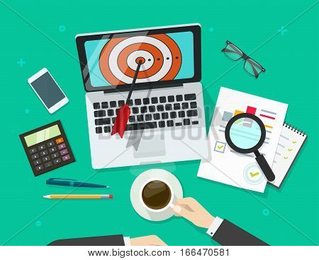 Successful business target vector illustration, manager working on laptop finding aim and analysing financial data, targeting research concept, mission achievement, success goals report