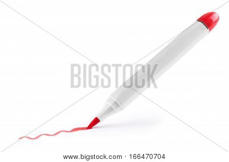 Red marker with shadow isolated on white background.