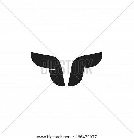 Bull logo vector symbol, buffalo with horns black and white element design, geometric bull head shape, concept of cattle logotype, strong abstract taurus brand identity isolated on white