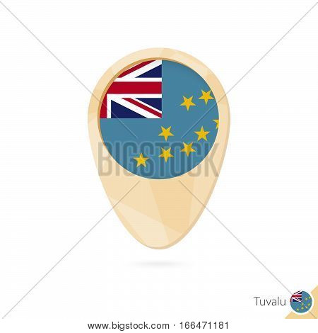 Map Pointer With Flag Of Tuvalu. Orange Abstract Map Icon.