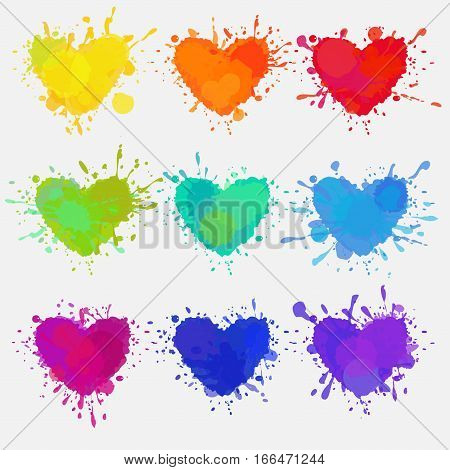 vector colorful hearts, set of splattered and messy colorful hearts with paint stains for Valentine's day design