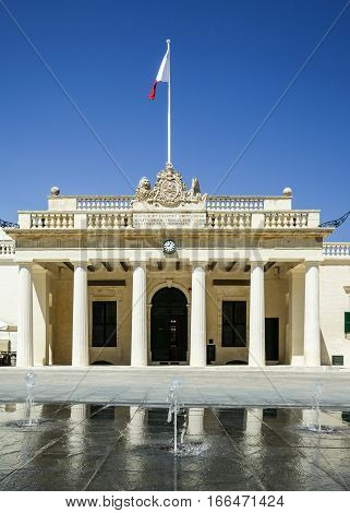 The facade to the landmark Main Guard and Chancellery located in St. Georges Square in the Maltese capital of Valletta.