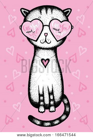 All you need is love - cat glasses heart on a pink background - Valentine's Day