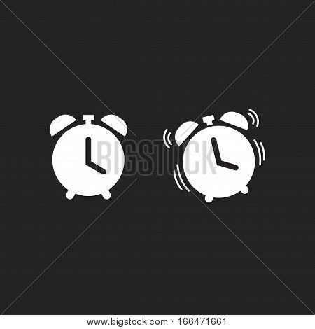 Clock alarm icon vector isolated on dark black background, classic retro white alarm clock ringing pictogram line outline style
