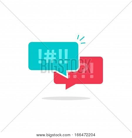 Argue chat bubbles icon vector, concept of argument messages, rude dialog, arguing couple chatting, conflict speech, discussion, abuse symbol isolated on white