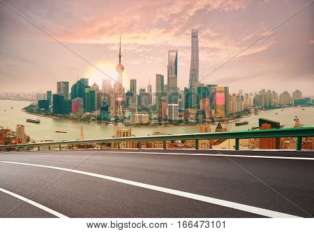 Empty Wood Floor With Bird-eye View At Shanghai Bund Skyline