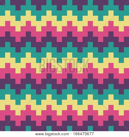 Vector Flat Design Chevron Ethnic Pattern Abstract Background Illustration
