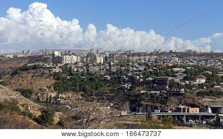 View of Yerevan city from cascade, Armenia