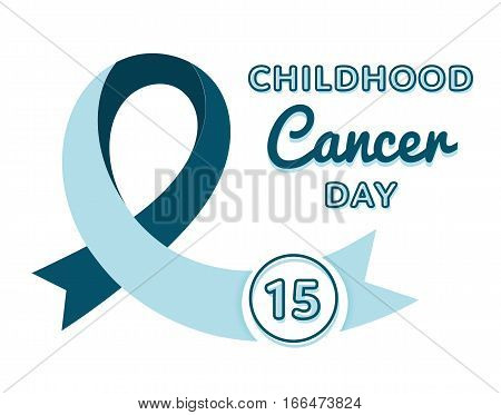 World Childhood Cancer Day emblem isolated vector illustration on white background. 15 february international medical healthcare holiday event label, greeting card element