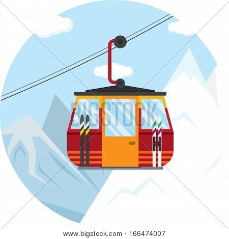 vector illustration of a ski lift cable car for the winter.
