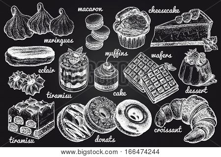 Desserts and inscriptions isolated white chalk on blackboard. Hand drawing illustration vector. Cheesecake macaroons meringues muffin waffles donuts croissant cakes cookies eclair tiramisu.