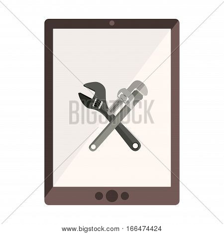 monochrome tablet with crossed wrenches in display vector illustration