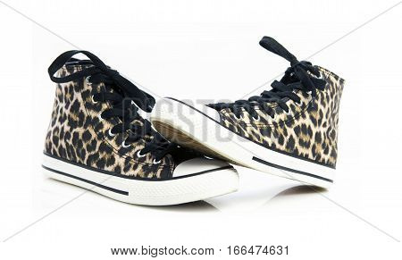 Pair Of Leopard Skin Boots on a White Background
