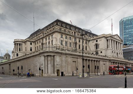 LONDON, ENGLAND - JUNE 18 2016: Building of Bank of England in city of London, Great Britain