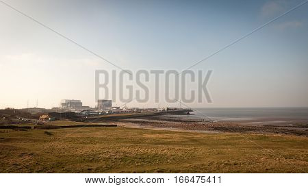 A wide angle view of Heysham 1 and 2 nuclear power stations in the North West of England.