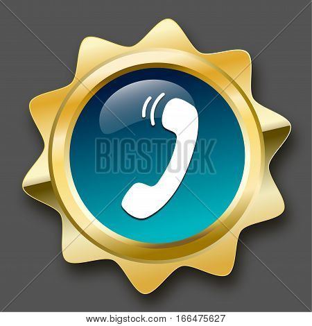 Communication seal or icon with telephone symbol. Glossy golden seal or button.