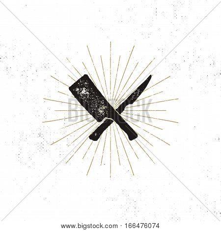 meat cleaver and knife symbols. Vintage steak house symbol. Letterpress effect with sunbursts. Vector design.