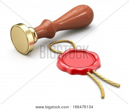 Seal stamper and empty wax seal with the rope - 3D illustration