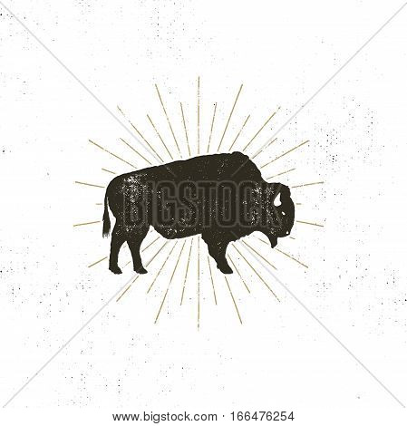 bison icon silhouette. Retro letterpress effect. Buffalo symbol with sunbursts isolated on white background. Use for steak house logo, infographics, logotype. Vector design.