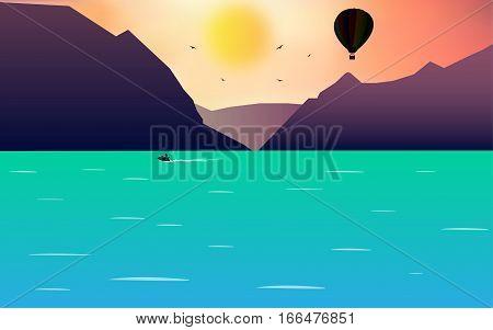 Sea landscape - air balloon and jet ski