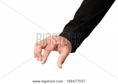 Businessman hand picking something with space isolated on white background clipping path.