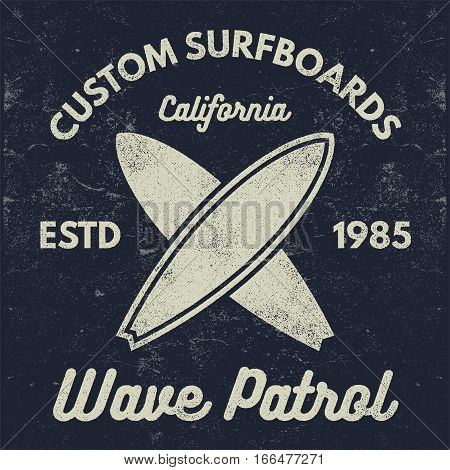 Vintage Surfing tee design. Retro t-shirt Graphics and Emblems for web or print. Surfer, beach style logo . Surf Badge Surfboard seal, elements, symbols. Summer boarding on waves. Vector design.