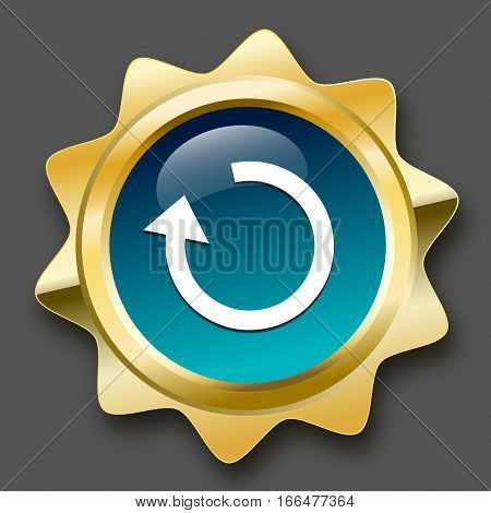 Loading seal or icon with arrow symbol. Glossy golden seal or button with turquoise color.