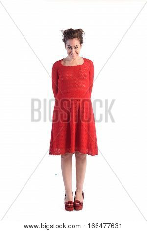 Woman in a red dress isolated on white color