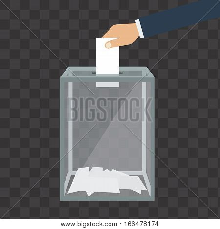 Voting, election concept. Vector illustration flat design style. Transparent glass box. Man holds in his hand bulletin, puts in ballot box.