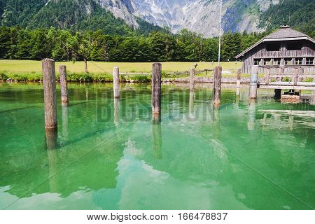Konigssee Lake With Clear Green Water And Reflection. Berchtesgaden National Park,  Bavaria,  German
