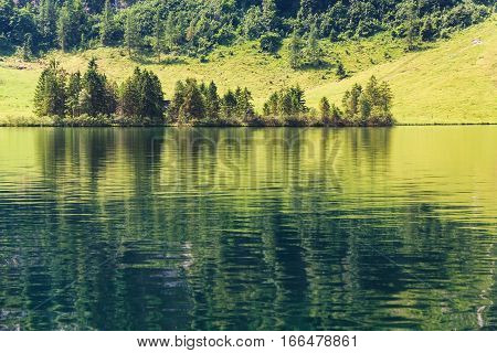 Konigssee Lake With Clear Green Water And Reflection. Berchtesgaden National Park, Bavaria,  Germany