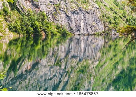 Obersee Lake With Clear Green Water And Reflection, Berchtesgaden National Park, Bavaria,  Germany