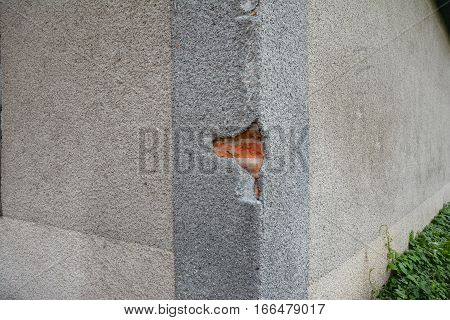Fixing Repair House Facade Wall Cracks. Cracking In House Facade Concrete Wall Outdoor. Cracked Wall.