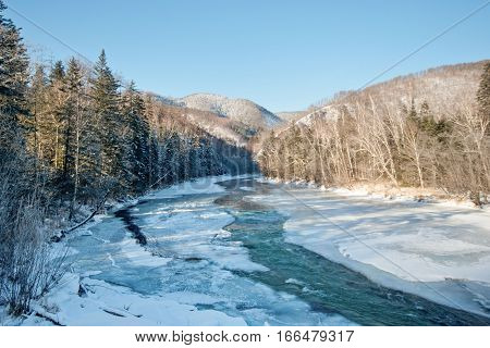 mountain river. winter. taiga the Russian far East