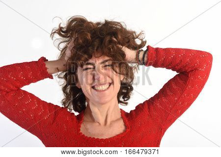 Woman who disheveled on a white background