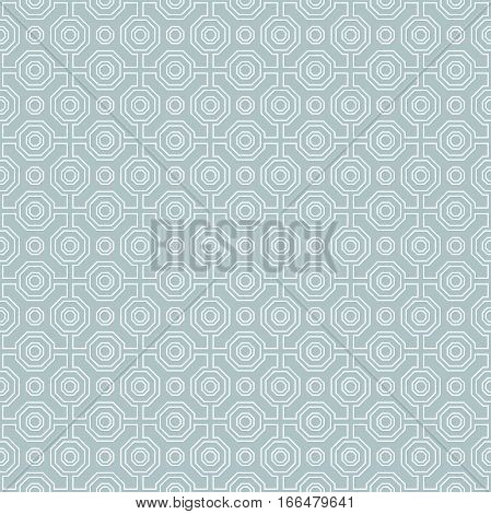 Geometric fine abstract octagonal background. Seamless modern pattern. Blue and white pattern