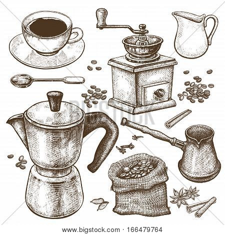 Hand drawing illustration Coffee time. Coffeepot Turkish ibrik coffee-grinder cup milk jug dessert spoon coffee beans spices cinnamon and star anise isolated on white background. Vintage art.
