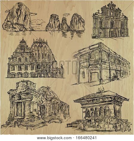 An hand drawn vector pack - Architecture around the World. Collection of line art illustrations. All buildings are named inside the file.