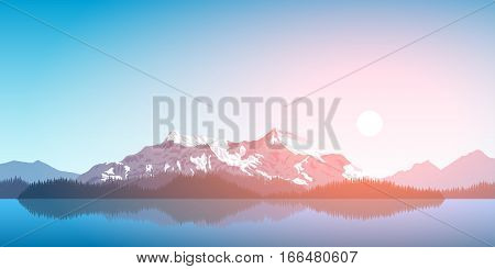 picture of a mountain range with forest silhouette and rising sun, travel, tourism, hiking and trekking concept