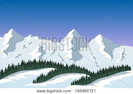 picture of a mountain range with forest silhouette, travel, tourism, hiking and trekking concept
